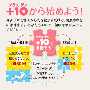 +10(プラステン):今より10分多く体を動かそう